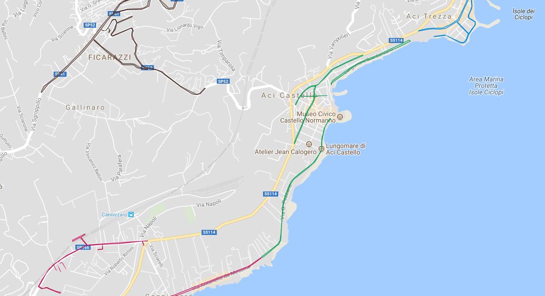 La mappa dei parcheggi di Aci Castello